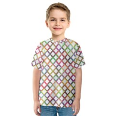 Grid Colorful Multicolored Square Kids  Sport Mesh Tee