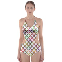 Grid Colorful Multicolored Square Cut Out One Piece Swimsuit