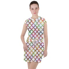 Grid Colorful Multicolored Square Drawstring Hooded Dress