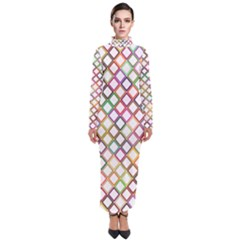 Grid Colorful Multicolored Square Turtleneck Maxi Dress by HermanTelo