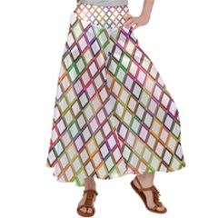 Grid Colorful Multicolored Square Satin Palazzo Pants by HermanTelo