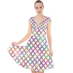 Grid Colorful Multicolored Square Cap Sleeve Front Wrap Midi Dress