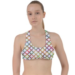 Grid Colorful Multicolored Square Criss Cross Racerback Sports Bra