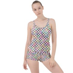 Grid Colorful Multicolored Square Boyleg Tankini Set  by HermanTelo