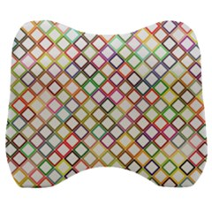 Grid Colorful Multicolored Square Velour Head Support Cushion