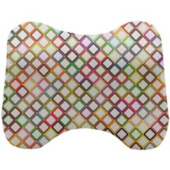 Grid Colorful Multicolored Square Head Support Cushion