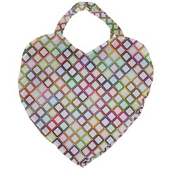 Grid Colorful Multicolored Square Giant Heart Shaped Tote by HermanTelo