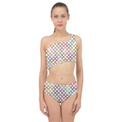 Grid Colorful Multicolored Square Spliced Up Two Piece Swimsuit