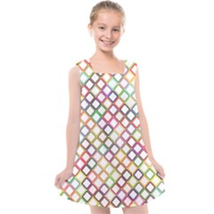 Grid Colorful Multicolored Square Kids  Cross Back Dress by HermanTelo