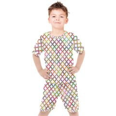 Grid Colorful Multicolored Square Kids  Tee And Shorts Set by HermanTelo