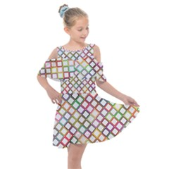 Grid Colorful Multicolored Square Kids  Shoulder Cutout Chiffon Dress