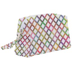 Grid Colorful Multicolored Square Wristlet Pouch Bag (large) by HermanTelo