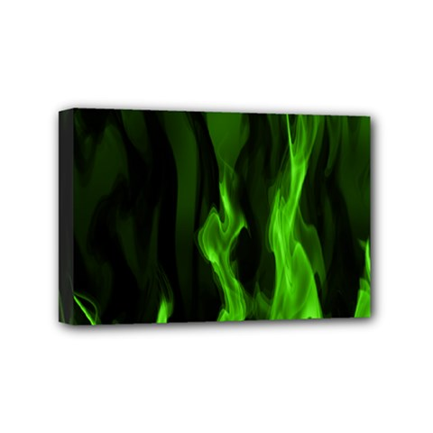 Smoke Flame Abstract Green Mini Canvas 6  X 4  (stretched)