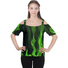 Smoke Flame Abstract Green Cutout Shoulder Tee by HermanTelo