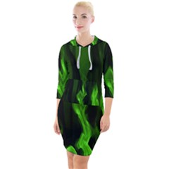 Smoke Flame Abstract Green Quarter Sleeve Hood Bodycon Dress