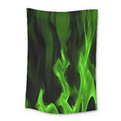 Smoke Flame Abstract Green Small Tapestry by HermanTelo