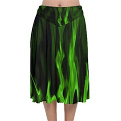 Smoke Flame Abstract Green Velvet Flared Midi Skirt by HermanTelo