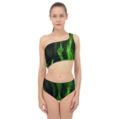 Smoke Flame Abstract Green Spliced Up Two Piece Swimsuit