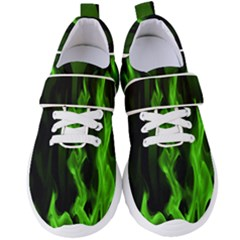 Smoke Flame Abstract Green Women s Velcro Strap Shoes
