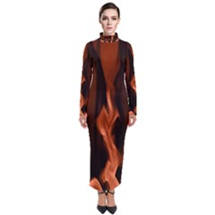 Smoke Flame Abstract Orange Red Turtleneck Maxi Dress by HermanTelo