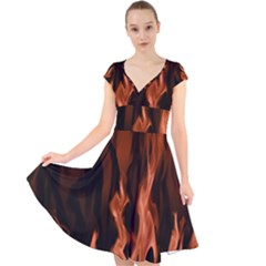 Smoke Flame Abstract Orange Red Cap Sleeve Front Wrap Midi Dress