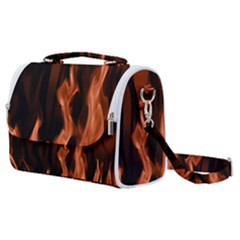 Smoke Flame Abstract Orange Red Satchel Shoulder Bag by HermanTelo