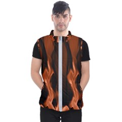 Smoke Flame Abstract Orange Red Men s Puffer Vest