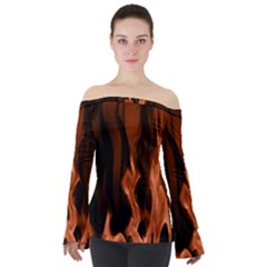 Smoke Flame Abstract Orange Red Off Shoulder Long Sleeve Top