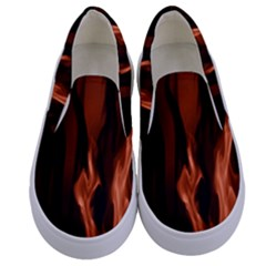 Smoke Flame Abstract Orange Red Kids  Canvas Slip Ons