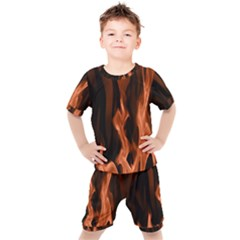 Smoke Flame Abstract Orange Red Kids  Tee And Shorts Set by HermanTelo