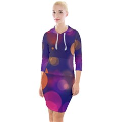 Seamless Pattern Design Tiling Quarter Sleeve Hood Bodycon Dress