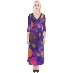 Seamless Pattern Design Tiling Quarter Sleeve Wrap Maxi Dress