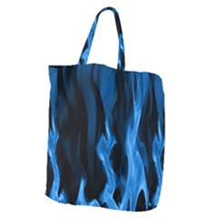 Smoke Flame Abstract Blue Giant Grocery Tote