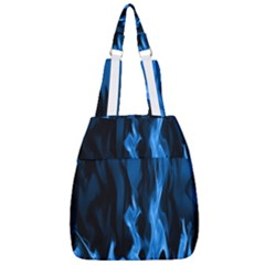 Smoke Flame Abstract Blue Center Zip Backpack