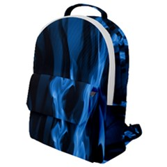 Smoke Flame Abstract Blue Flap Pocket Backpack (small)