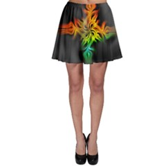 Smoke Rainbow Abstract Fractal Skater Skirt by HermanTelo