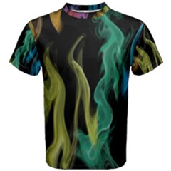 Smoke Rainbow Colors Colorful Fire Men s Cotton Tee