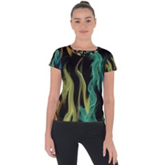 Smoke Rainbow Colors Colorful Fire Short Sleeve Sports Top  by HermanTelo