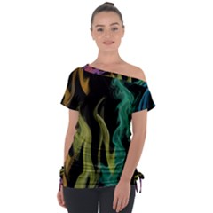 Smoke Rainbow Colors Colorful Fire Tie Up Tee by HermanTelo