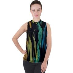 Smoke Rainbow Colors Colorful Fire Mock Neck Chiffon Sleeveless Top by HermanTelo