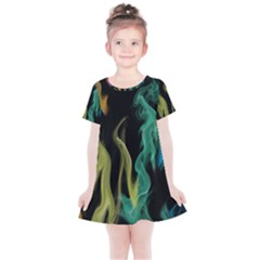 Smoke Rainbow Colors Colorful Fire Kids  Simple Cotton Dress