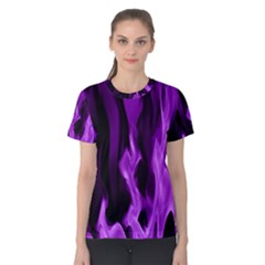 Smoke Flame Abstract Purple Women s Cotton Tee by HermanTelo