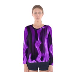 Smoke Flame Abstract Purple Women s Long Sleeve Tee by HermanTelo