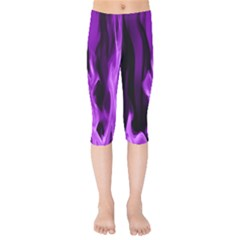 Smoke Flame Abstract Purple Kids  Capri Leggings  by HermanTelo