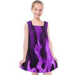 Smoke Flame Abstract Purple Kids  Cross Back Dress