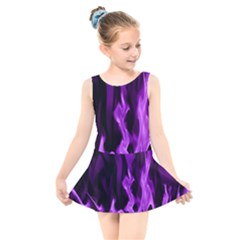 Smoke Flame Abstract Purple Kids  Skater Dress Swimsuit by HermanTelo