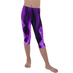 Smoke Flame Abstract Purple Kids  Lightweight Velour Capri Leggings  by HermanTelo