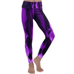Smoke Flame Abstract Purple Kids  Lightweight Velour Classic Yoga Leggings by HermanTelo