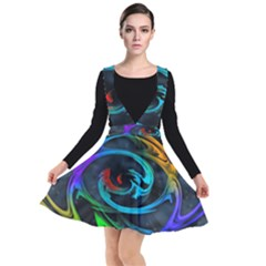 Rainbow Fractal Clouds Stars Plunge Pinafore Dress