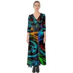 Rainbow Fractal Clouds Stars Button Up Boho Maxi Dress by HermanTelo